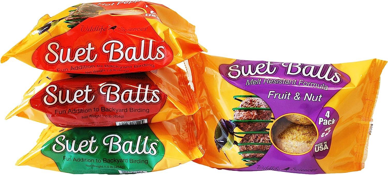 Wildlife Sciences Melt Resistant Suet Balls Variety 16 Pack, 4 Wrapped Packs of 4 Bird Suet Balls