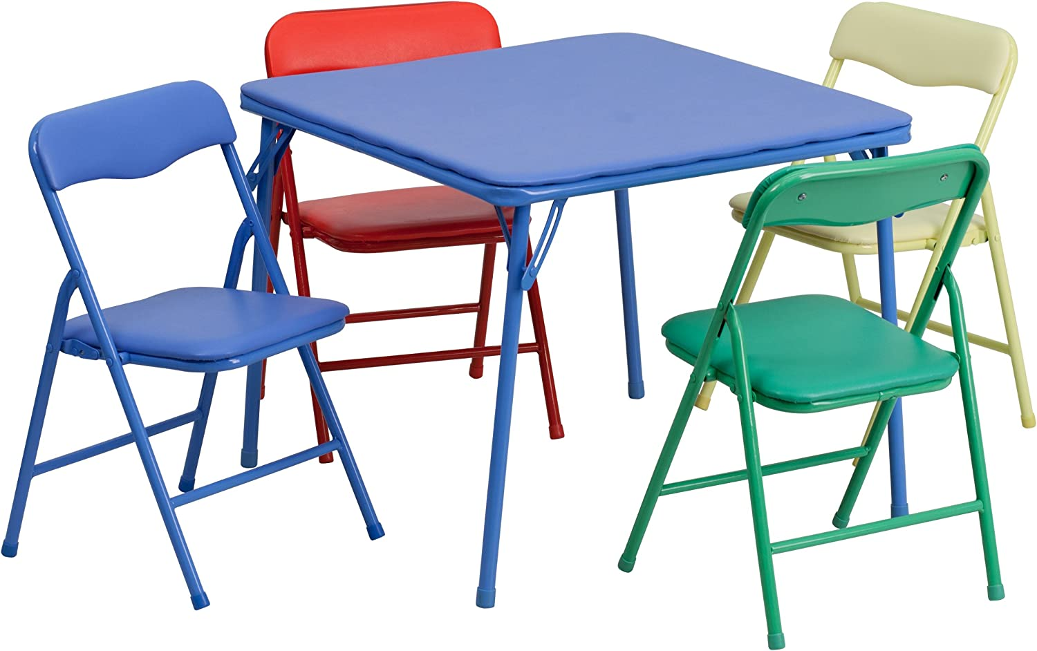 B00E84CG1K Flash Furniture Kids Colorful 5 Piece Folding Table and Chair Set 81n8sPEDUCL