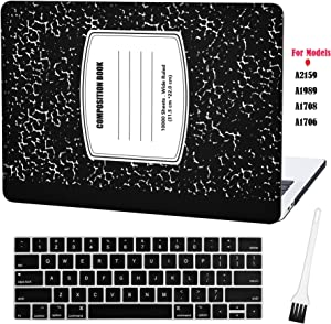 Laptop Plastic Hard Case MacBook Pro 13 Inch Matte Rubberized Hard Shell Sleeve Cover New MacBook Pro 13 Inch Case A2159 A1989 A1706 A1708 with Keyboard Cover and Dust Brush (Notebook Pattern-Black)