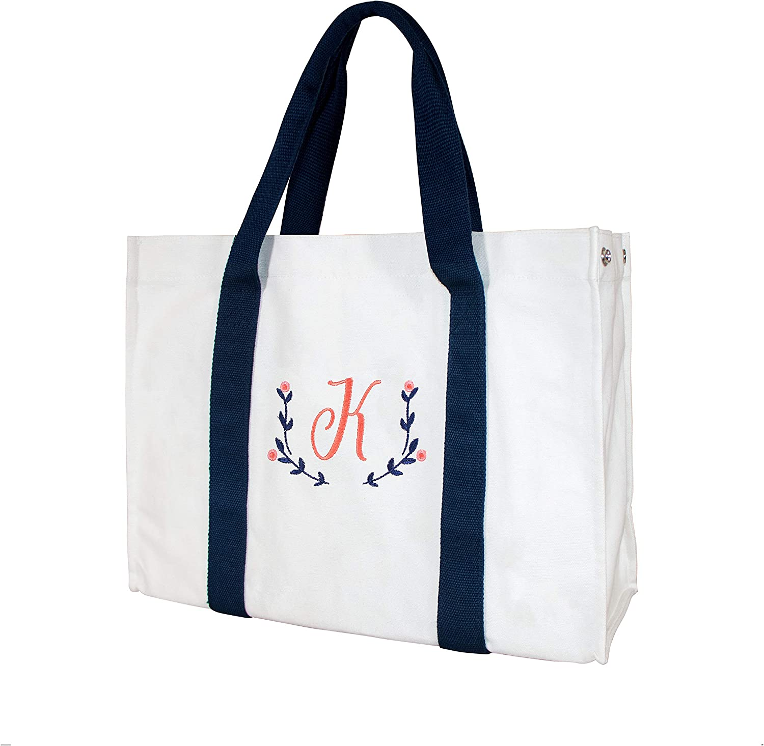 ElegantPark Monogrammed Gifts for Women Personalized Gifts Bag Embroidered Monogram K Initial Bag Tote for Wedding Gifts Birthday Gifts Teacher Gifts Bag with Pocket Cotton Canvas