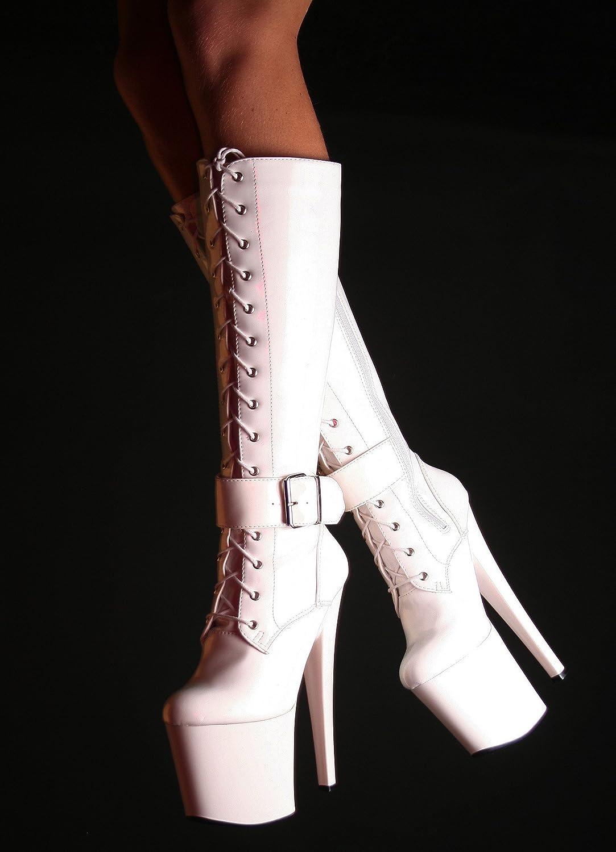 75f38132340011 RUBY-FASHION Sexy Extrem Hohe Plateau High Heels Lack Stiefel GoGo  Kniestiefel Lackstiefel Boots   Weiß   Größe 40  Amazon.de  Schuhe    Handtaschen