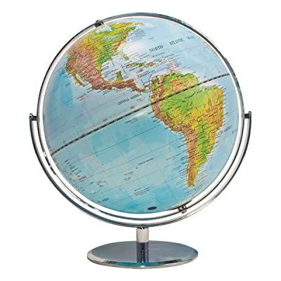 ADVANTUS Physical and Political 12-Inch World Globe, Silver Metal Desktop Base (30503): Office Products