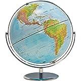 ADVANTUS Physical and Political 12-Inch World Globe, Silver Metal Desktop Base (30503)
