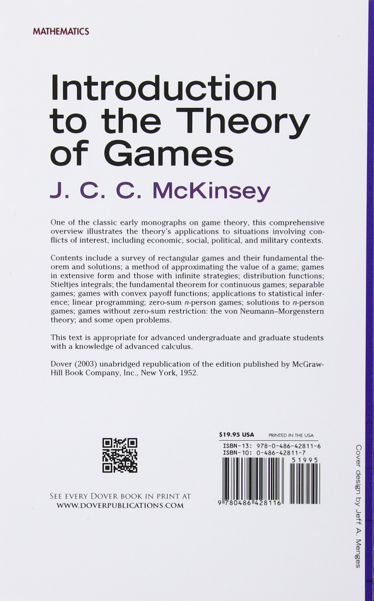 Game Theory: A Nontechnical Introduction by Morton D. Davis