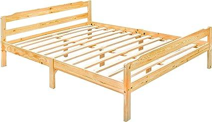 Doble cama con somier, madera de pino maciza, con listones, 140 x 190 CM