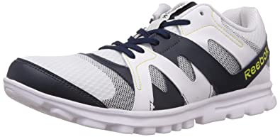 68cc890ede5 Reebok Men's Electro Run White,Blue,Green and Black Running Shoes - 10 UK