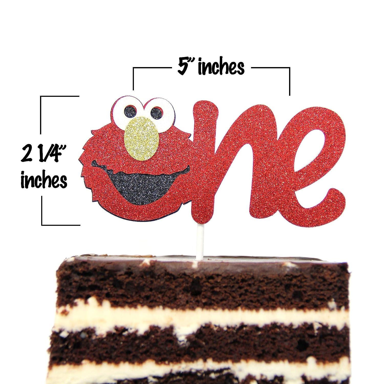 Elmo Inspired One Year Birthday Cake Topper Decoration Sesame Street