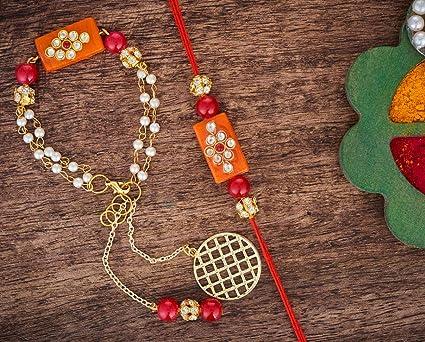 Orange Bhaiya Bhabhi Designer Lumba Rakhi Set Bracelet for Brother on Rakshabandhan Traditional Bracelet