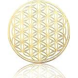 高級 フラワー オブ ライフ メタル ステッカー 金属製 ゴールド 46mm オリジナル flower of life 生命の花 神聖幾何学模様