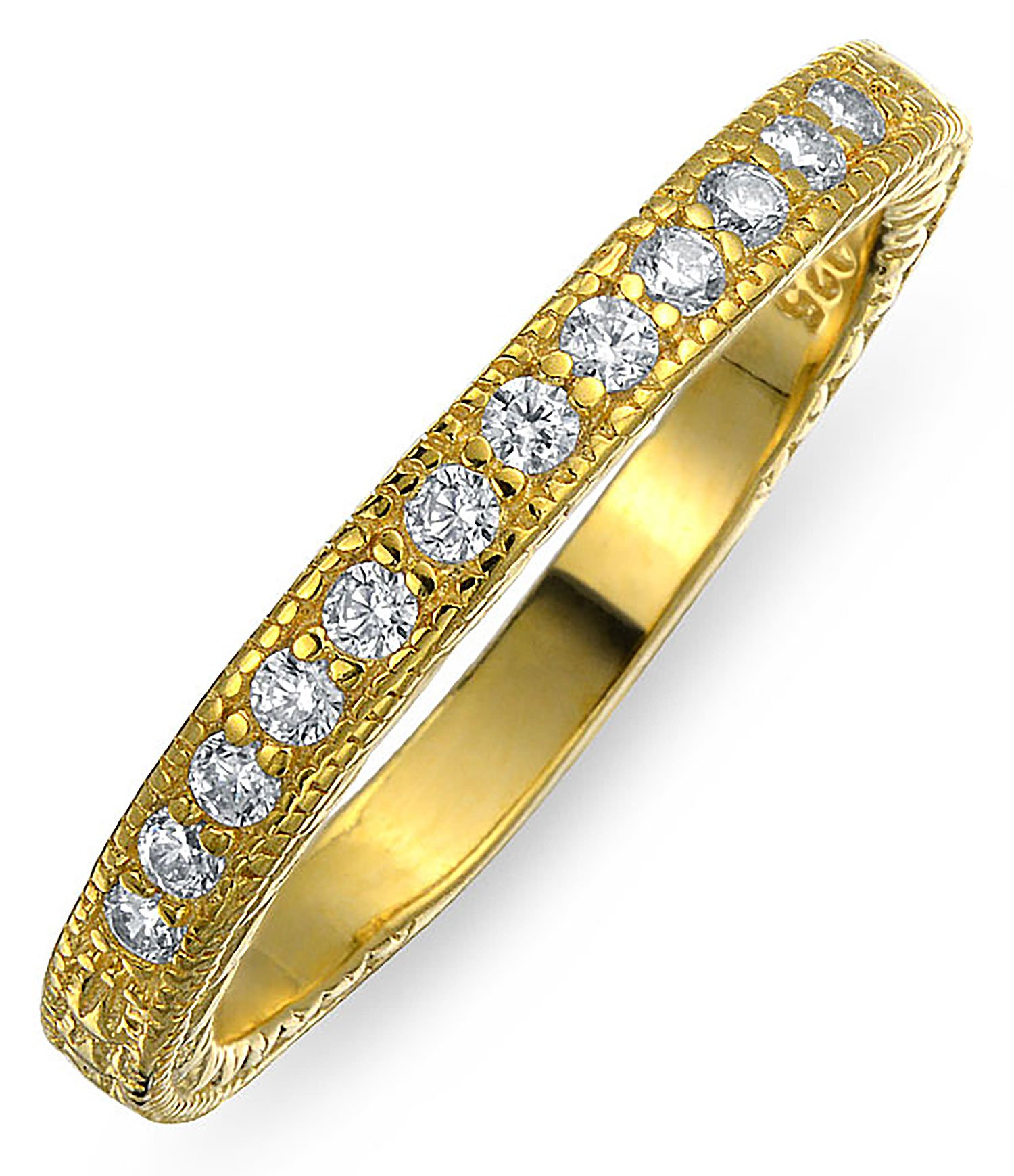 Gold Plated 925 Silver Vintage Style CZ Milgrain Wedding Band with Engraving