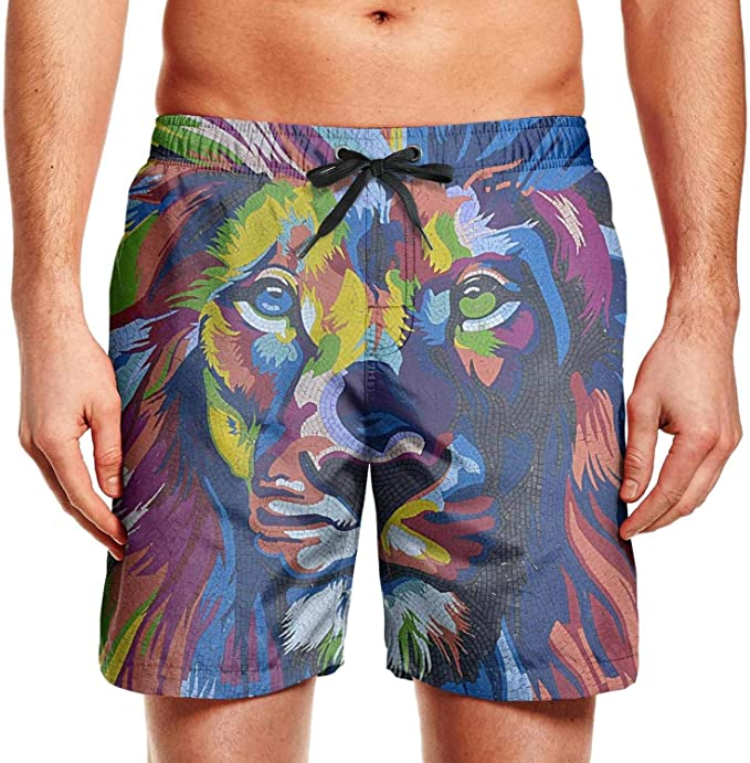 Colorful French Bulldog Dog Art Kids Beach Fully Lined Drawstring Swimming Trunks Shorts