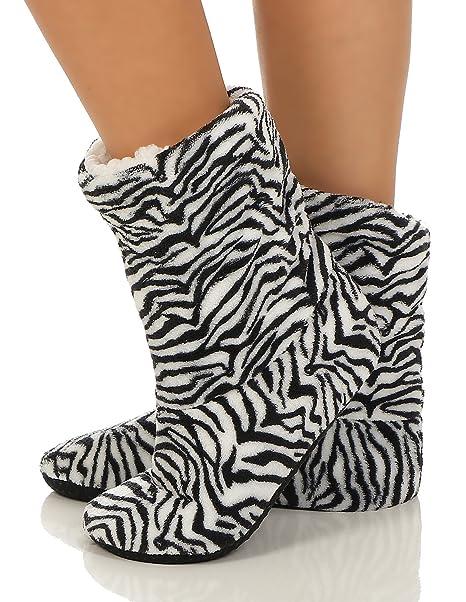 Cleostyle Collection - Calcetines de estar por casa - para mujer Negro cebra: Amazon.es: Ropa y accesorios