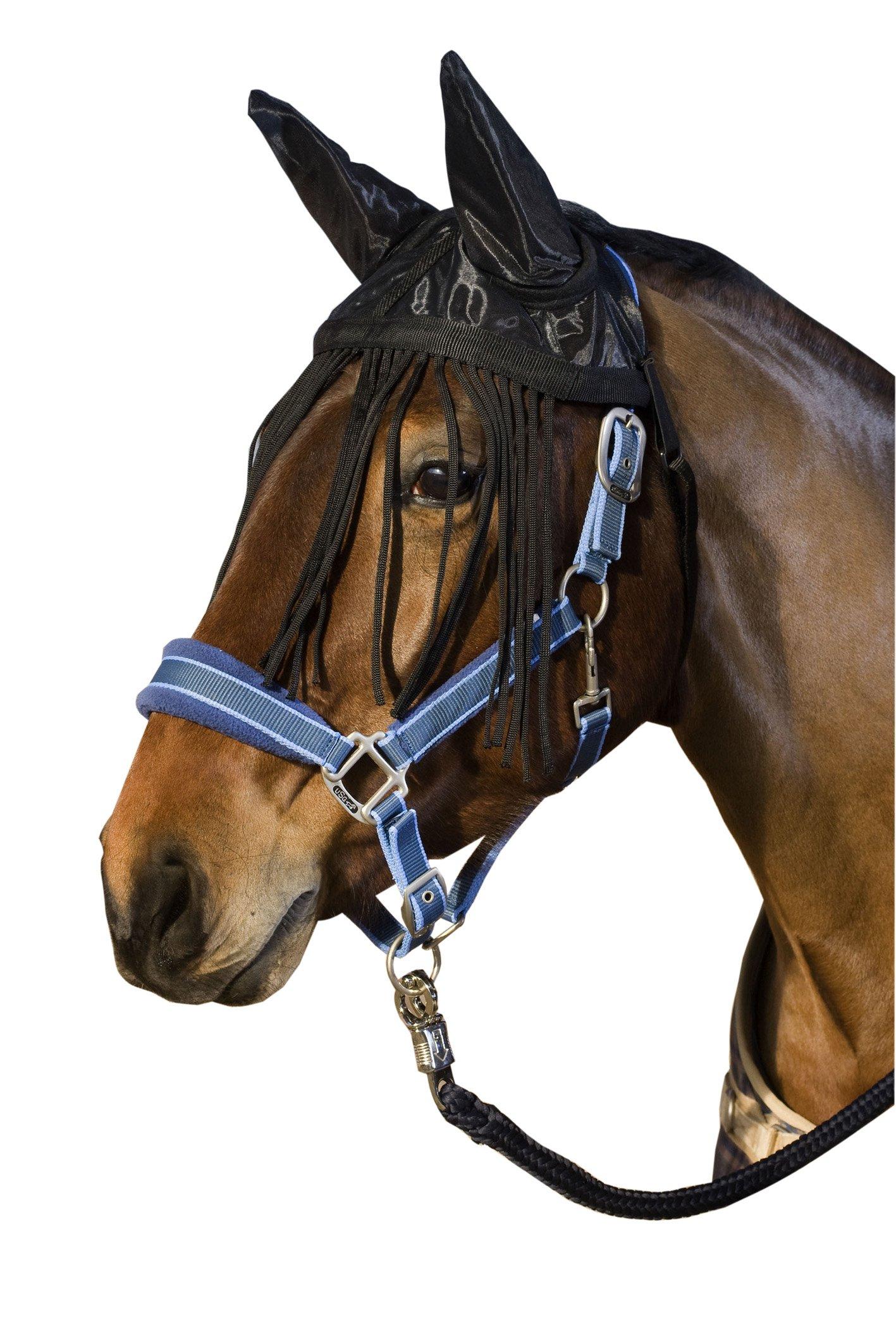 Black USG Fly Veil with Ear Protector// Fringes Cob