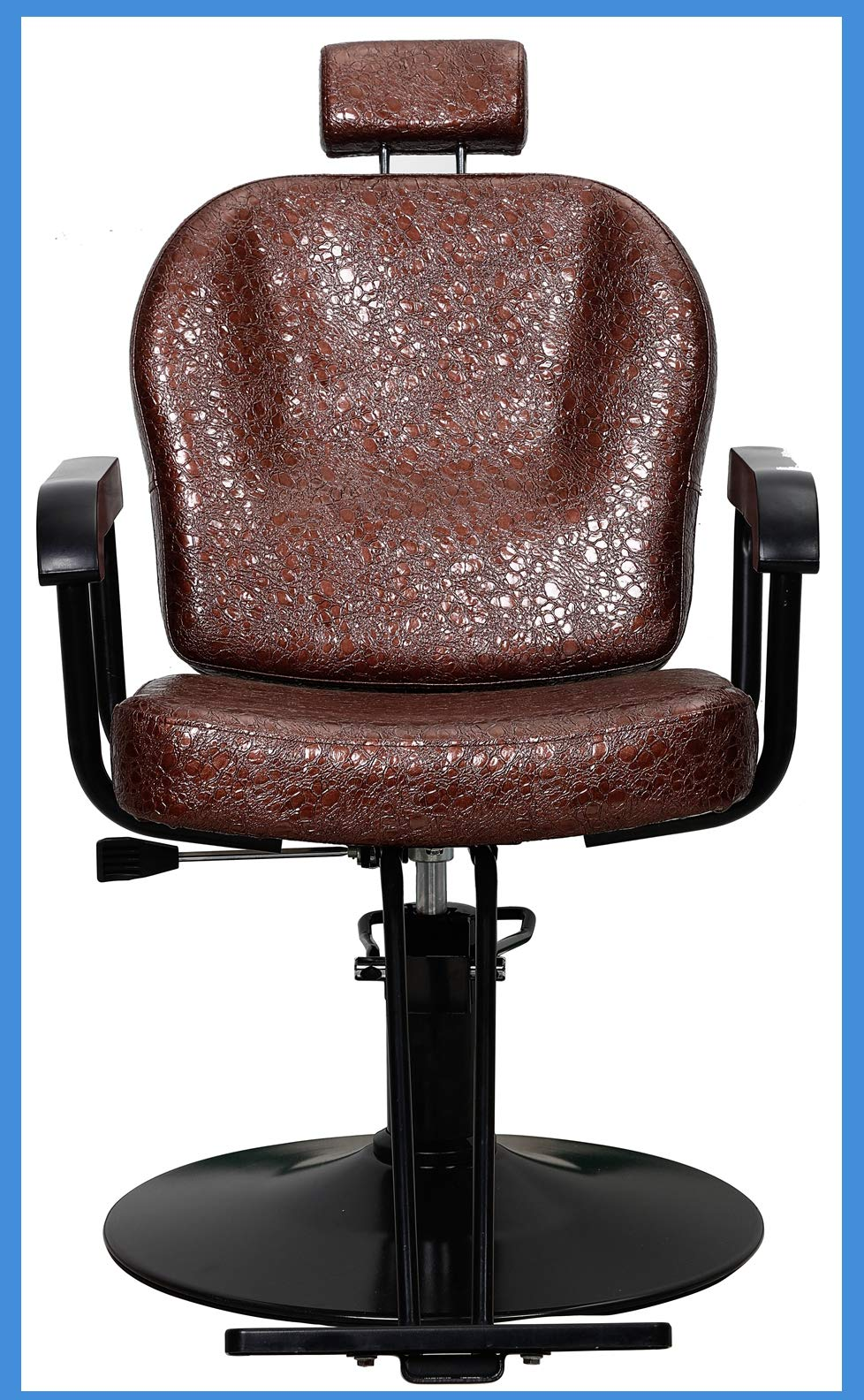 All Purpose Salon Barber Chair Brown Color with Titling Function and Hydraulic Lifting System for Hair Cutting Styling Shampoo Shave Waxing Makeup by BIGARM