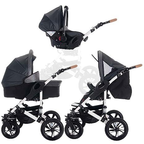 bebebi | Modelo myvario | Carrito 3 en 1 | Neumáticos de Aire gris