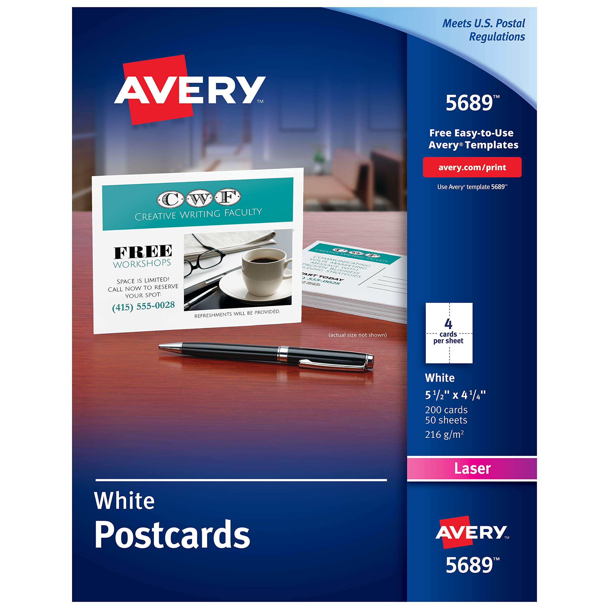 Avery Printable Cards, Laser Printers, 200 Cards, 4.25 x 5.5, U.S. Post Card Size (5689) by AVERY