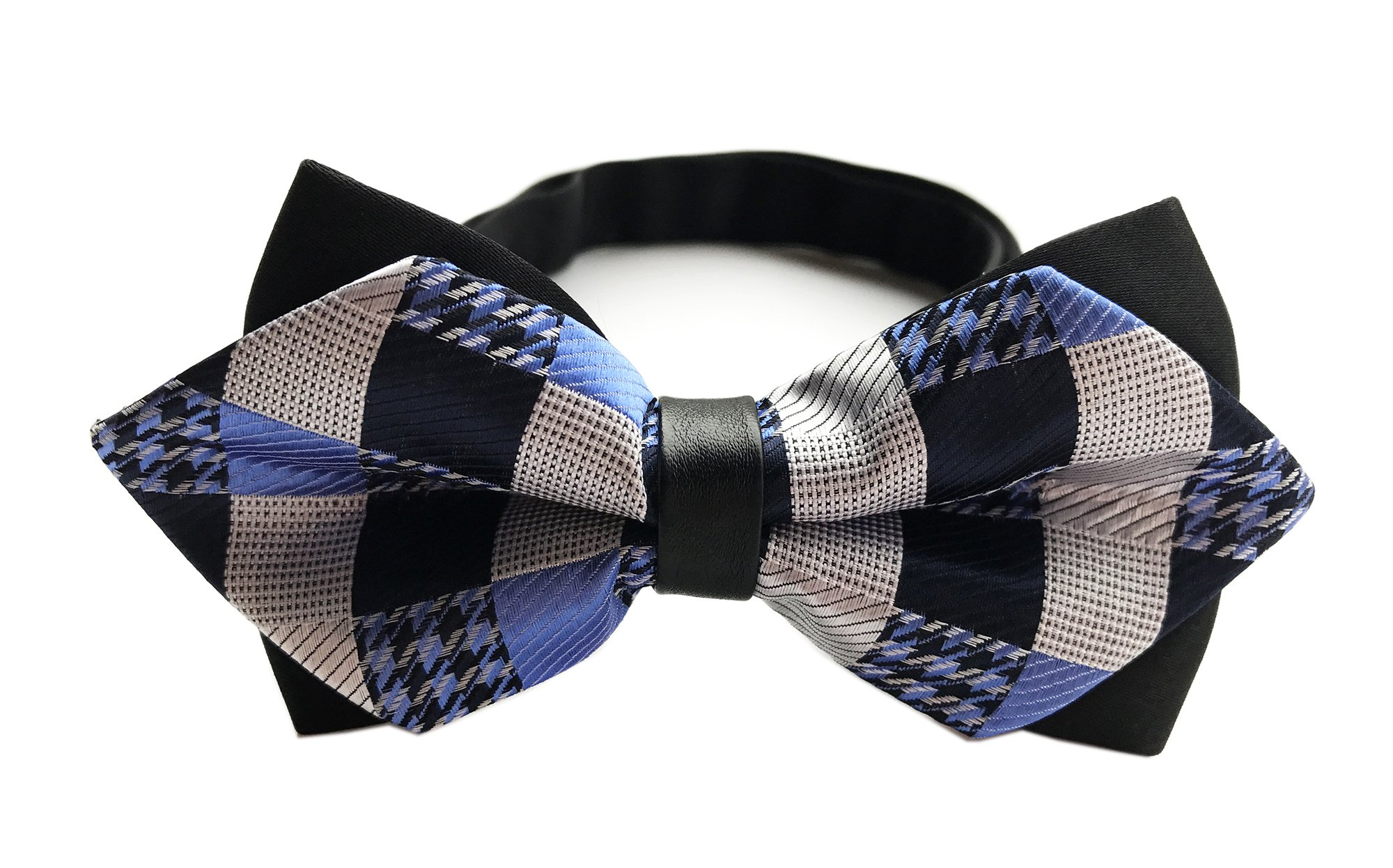 Men's Plaids Patterned Sky Blue Black Silver Bowties Clip On Bow Ties Neck Wear
