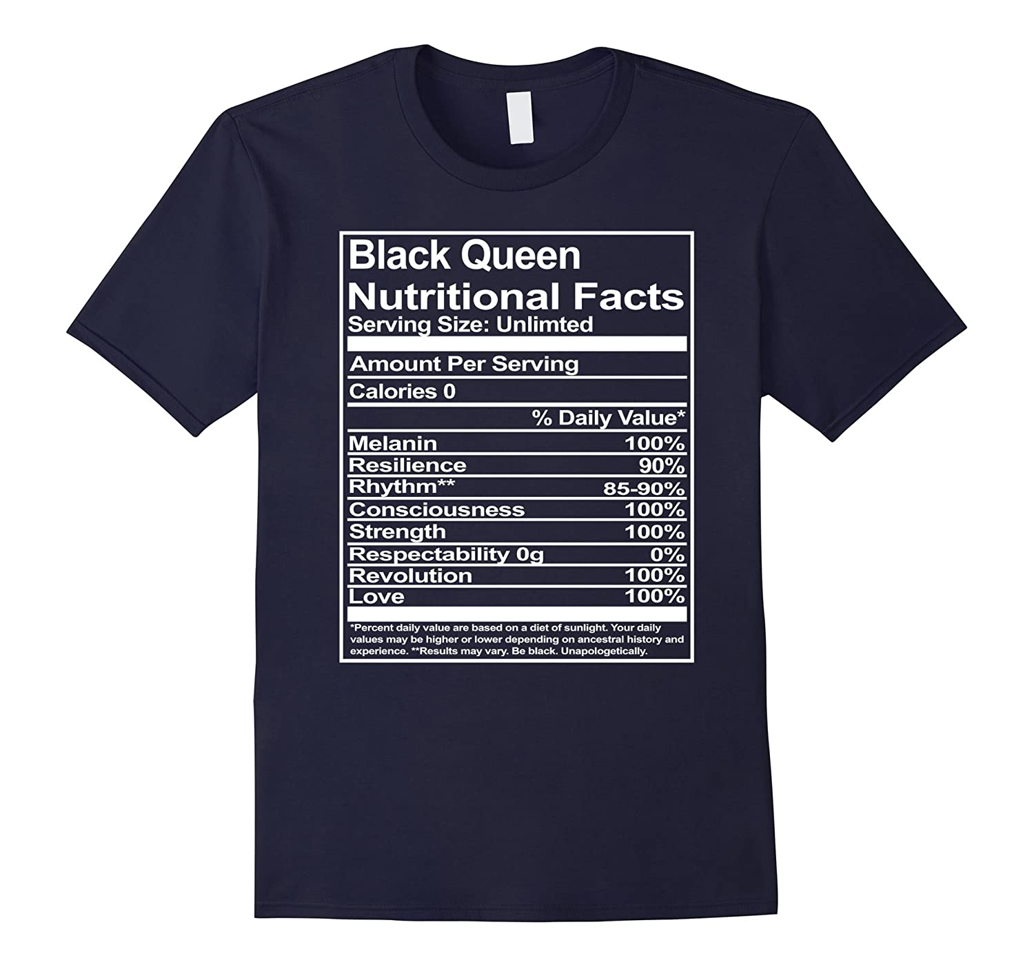 Black Evolution Black Queen Nutritional Facts T Shirt-TD