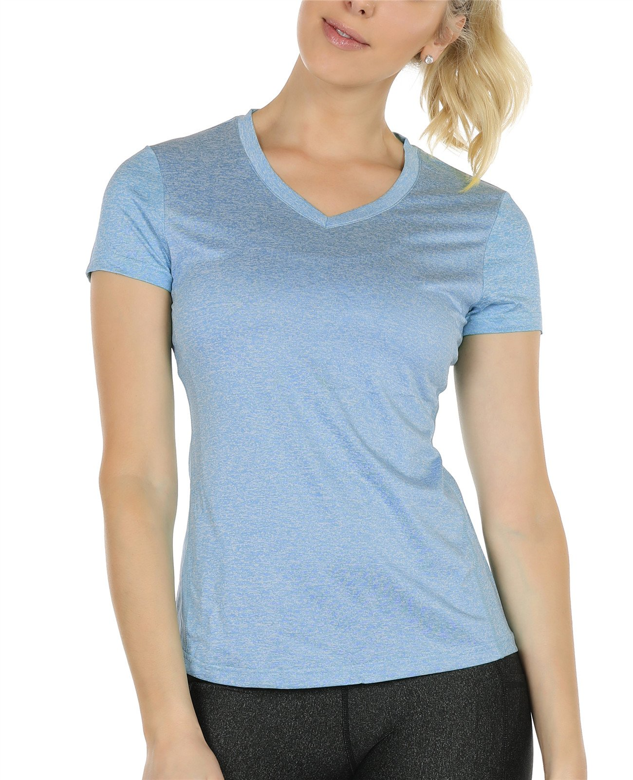 icyZone Workout Shirts Yoga Tops Activewear V-Neck T-shirts for Women Running Fitness Sports Short Sleeve Tees (L, Blue Heather)
