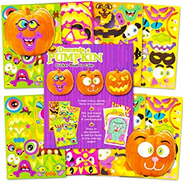 Pumpkin Decorating Stickers Set -- Over 400 Halloween Jack O Lantern  Stickers (8 Decorate a Pumpkin Sticker Sheets, 64 Coloring Pages)