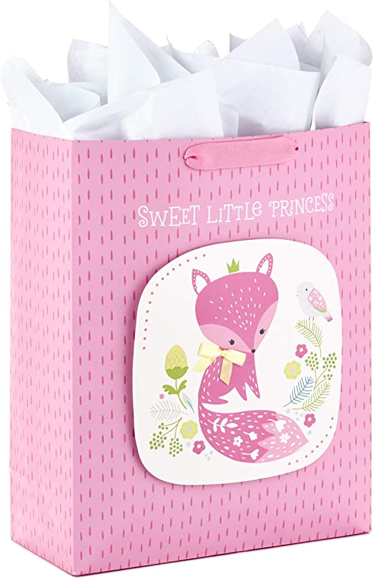Baby Girl Pink Jumbo Plastic Gift Bag Great w// Large Present Shower Party Basket