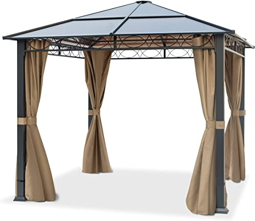 TOOLPORT Cenador de jardín 3x3 m Impermeable ALU Deluxe con 4 Partes Laterales Carpa Party en Techo de Bronce translúcido PC: Amazon.es: Jardín