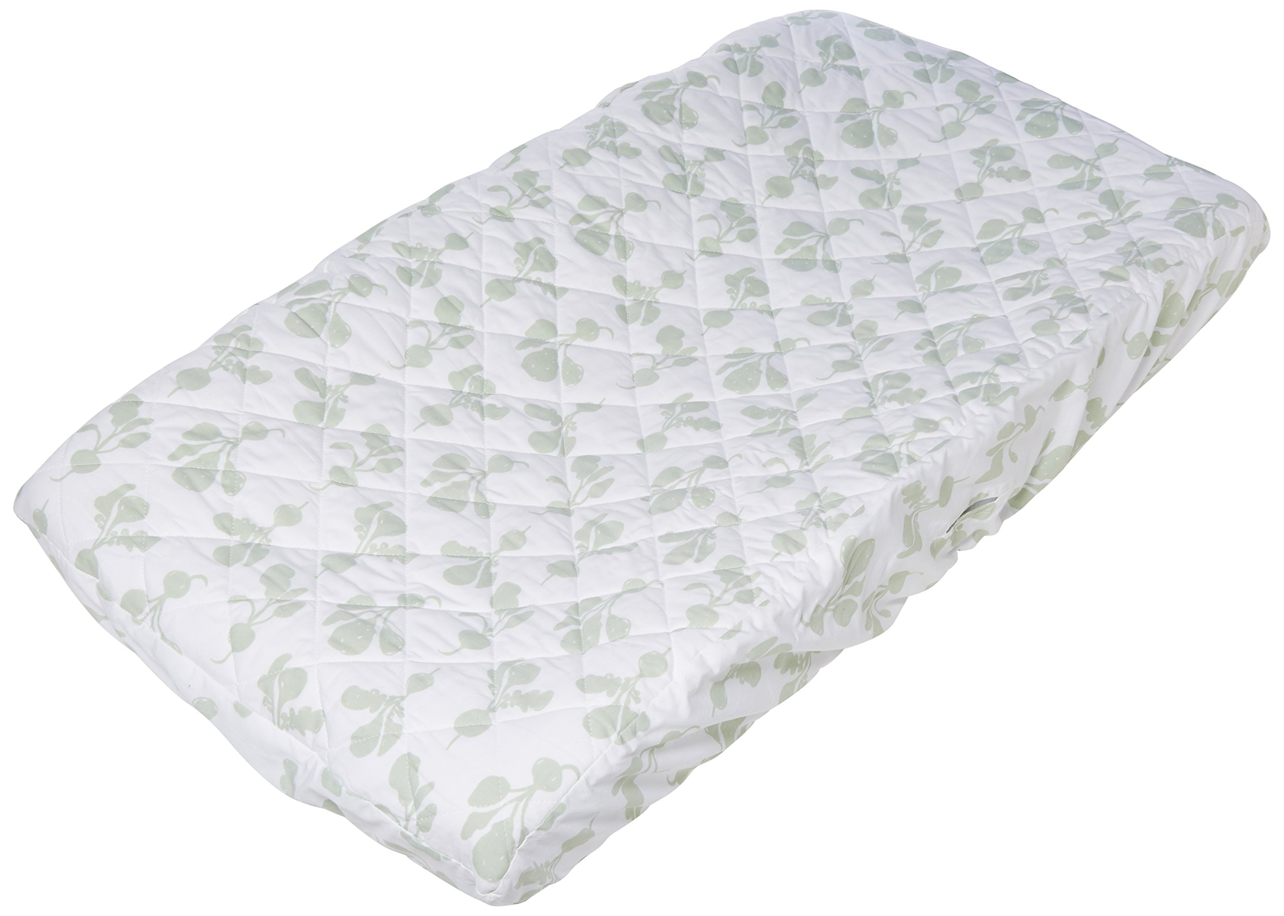 Lewis Quilted Organic Cotton Changing Pad Cover Radish Print 100% GOTS Certified Organic Cotton, Willow