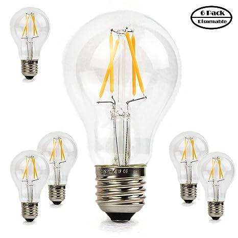 Beilf Bombilla de filamento LED Edison, diseño vintage, 4 W, regulable, A19