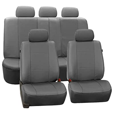 FH Group PU007GRAY115 Universal Fit Full Set Deluxe Seat Cover - Leatherette Airbag Compatible and Rear Split, Fit Most Car, Truck, SUV, or Van: Automotive
