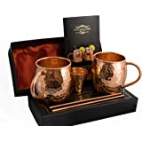 Handcrafted Copper Cups | Moscow Mule Copper Mugs By Vita Migliore - 100% Pure Solid Hammered | Best Moscow Mule Gift Set Includes Set of 2 Cups, 2 Straws, Copper Shot and Our Special Recipe Book