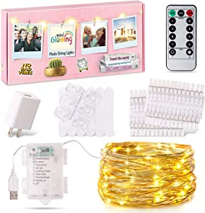 Photo Clips String Light - LED Fairy Lights (16.4ft) with 50 Transparent Clips for Hanging Pictures - Unique Gift for 10 11 12 13 14 15 Year Old Girls - College Dorm Room Essentials & Wall Decor