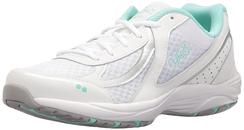 Ryka Women's Dash 3 Walking Shoe B01KWEYR8E 9 W US|White/Silver/Mint