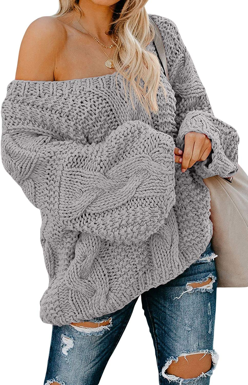 Ladies Knitted Off Shoulder Blouse Ribbed Long Sleeve Slim Bodycon Pullover Tops
