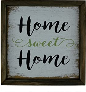 CVHOMEDECO. Primitives Distressed Home Sweet Home Shadow Box Frame Wall Mounted Hanging Decor Art, 9-3/4 x 9-3/4 Inch