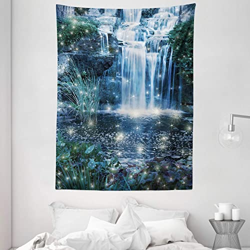 Ambesonne Magic Tapestry, Fairy and Cascade at The Night on The Water Fresh Landscape Image Print, Wall Hanging for Bedroom Living Room Dorm, 60 X 80 , Grey Green