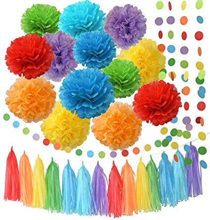 Rainbow Birthday Decorations Party Supplies Tissue Paper Pom Garland Circle For