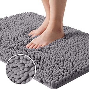 HOMEIDEAS Chenille Bathroom Rugs Grey, Microfiber Bathroom Mat for Tub Bathroom Shower Mat, Non Slip with Rug Pad, 20