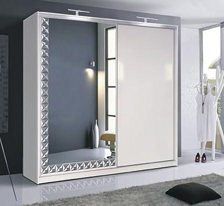 Instrumento ROOM1 acabado en blanco brillante efecto Espejo Armario 2 para puerta corredera con luz LED ...: Amazon.es: Hogar