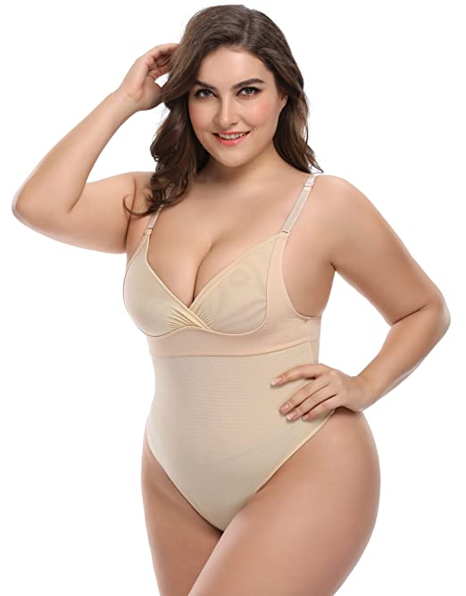 Women's Tummy Control Shapewear Thong Bodysuit Body Shaper