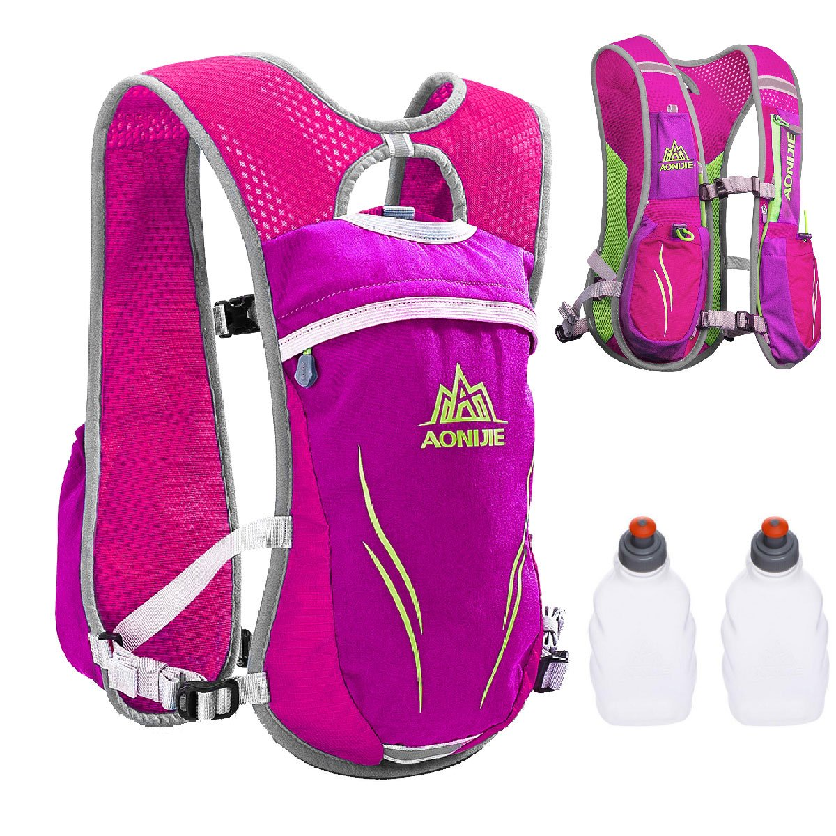 TRIWONDER Hydration Pack Backpack 5.5L Outdoors Mochilas Trail Marathoner Running Race Hydration Vest (Rose Red - with 2 Water Bottles)