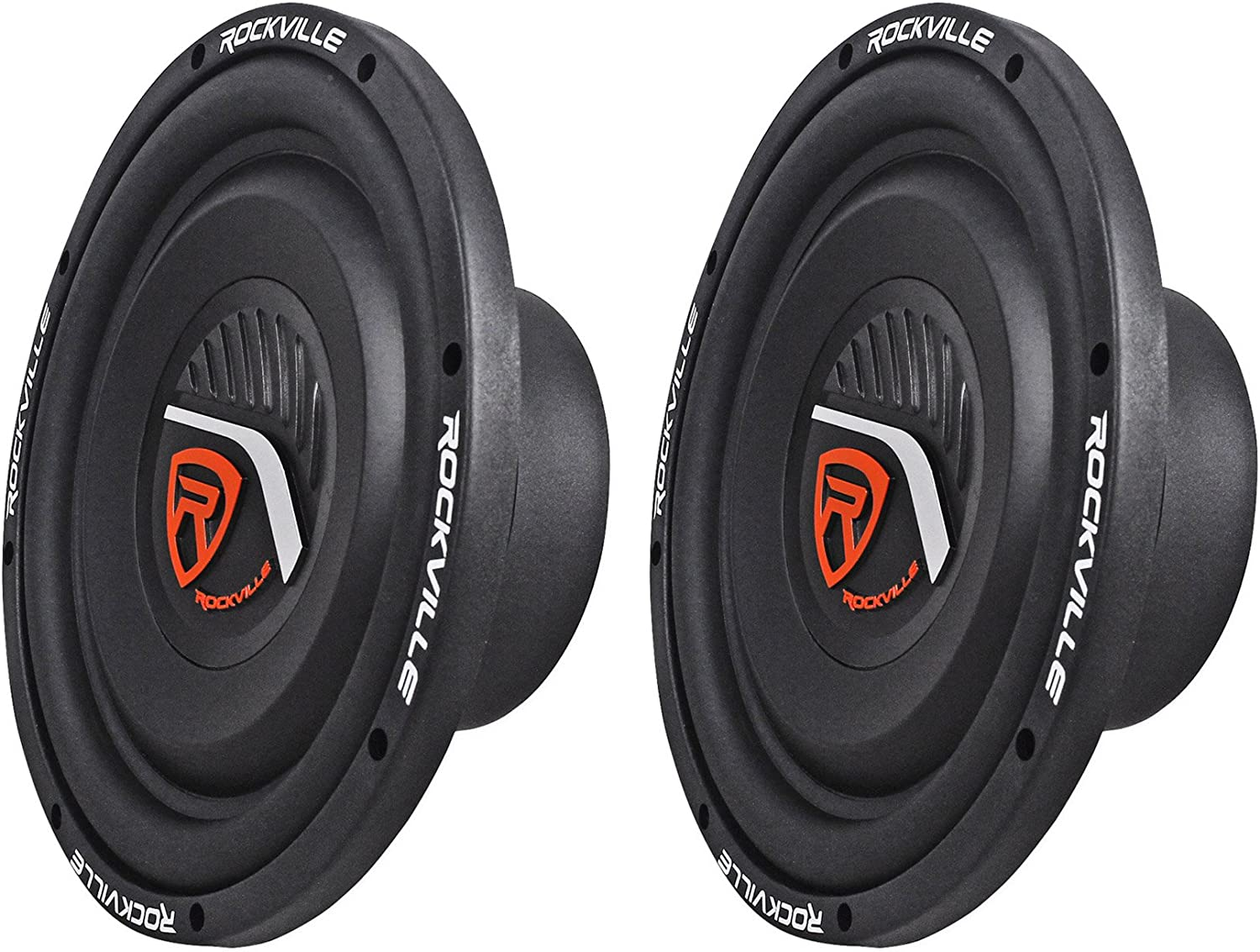 "(2) Rockville W10T4-S4 10"" Shallow Mount 2400 Watt 4-Ohm Car Audio Subwoofers"