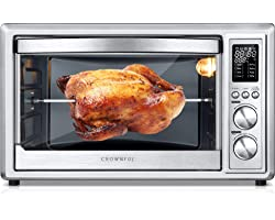 CROWNFUL Air Fryer Toaster Oven, 32 Quart Convection Roaster with Rotisserie & Dehydrator Combo Cooker, Accessories and Recip