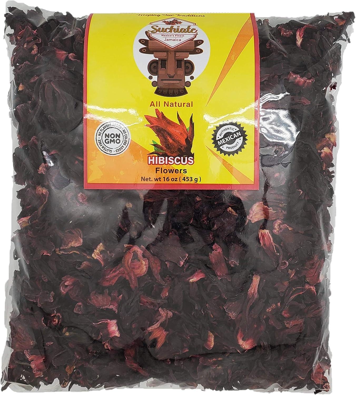 Suchiate Hibiscus Flowers - 100% Natural - 1 lb (16oz) Flor De Jamaica