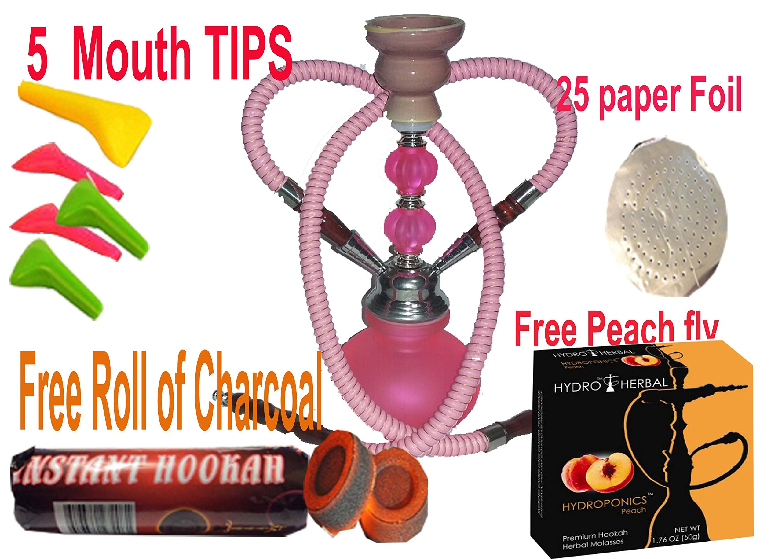 2 Hose Hookah Neon, Two Styles to Choose from 12'' Height, Cute Shape Comes with 10 Instant Charcoal, 5 Mouth Tips, 25 foil Paper- Free Peach Flavor (Style 1, Pink)