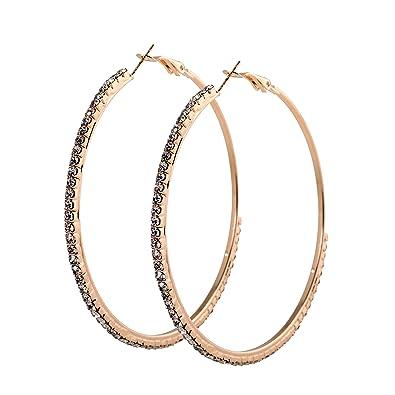 2880264ece69 geralin Gioielli - Pendientes Grandes Pendientes de aro oro STRASS 7 cm Fashion  Pendientes Vintage  Amazon.es  Joyería