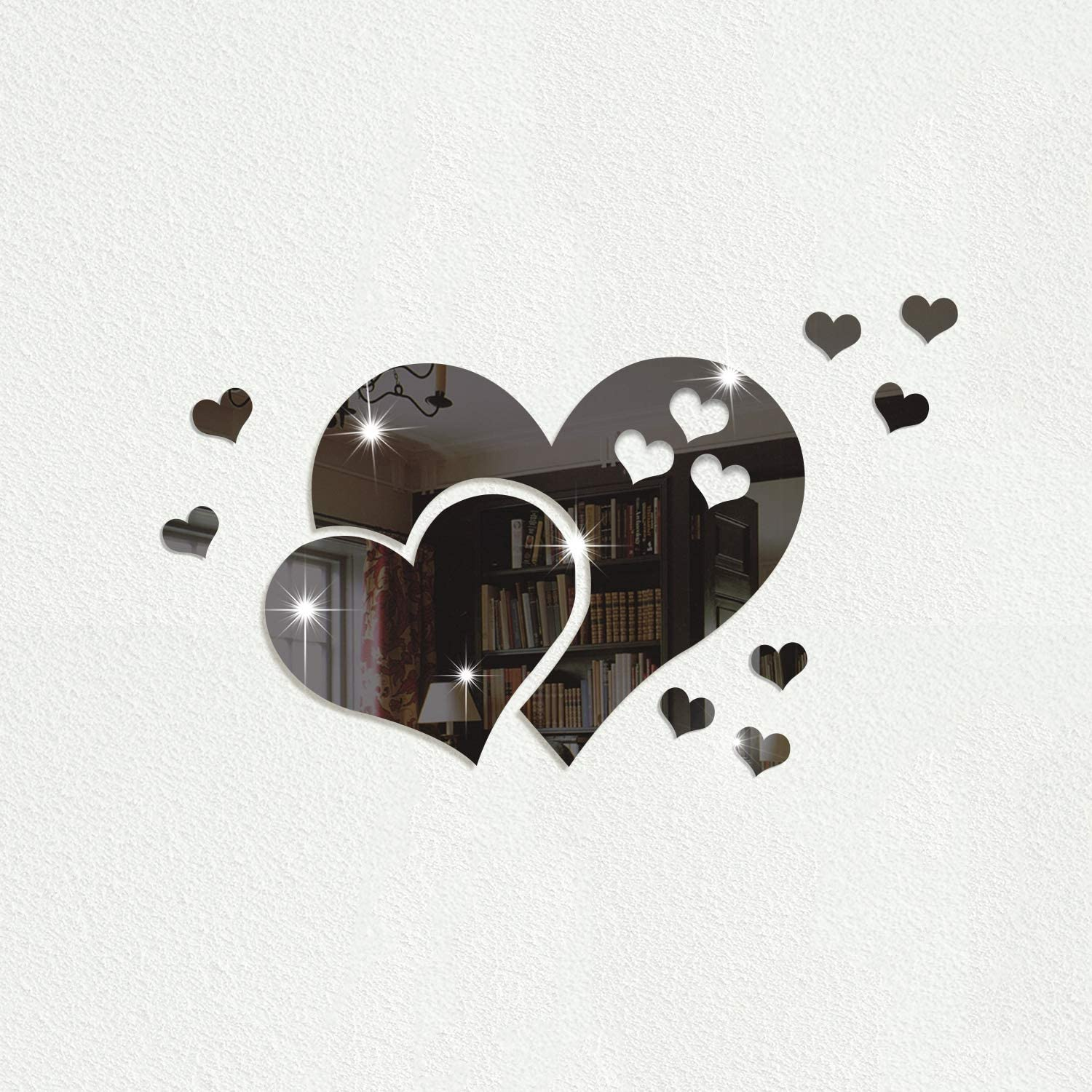 Heart-Shaped Wall Sticker, Small Size Reflective Acrylic Mirror Decal, 3D Wall Murals Decorations for Living Room, Bedroom, Sofa Backdrop, Tv Wall, Background (Black)