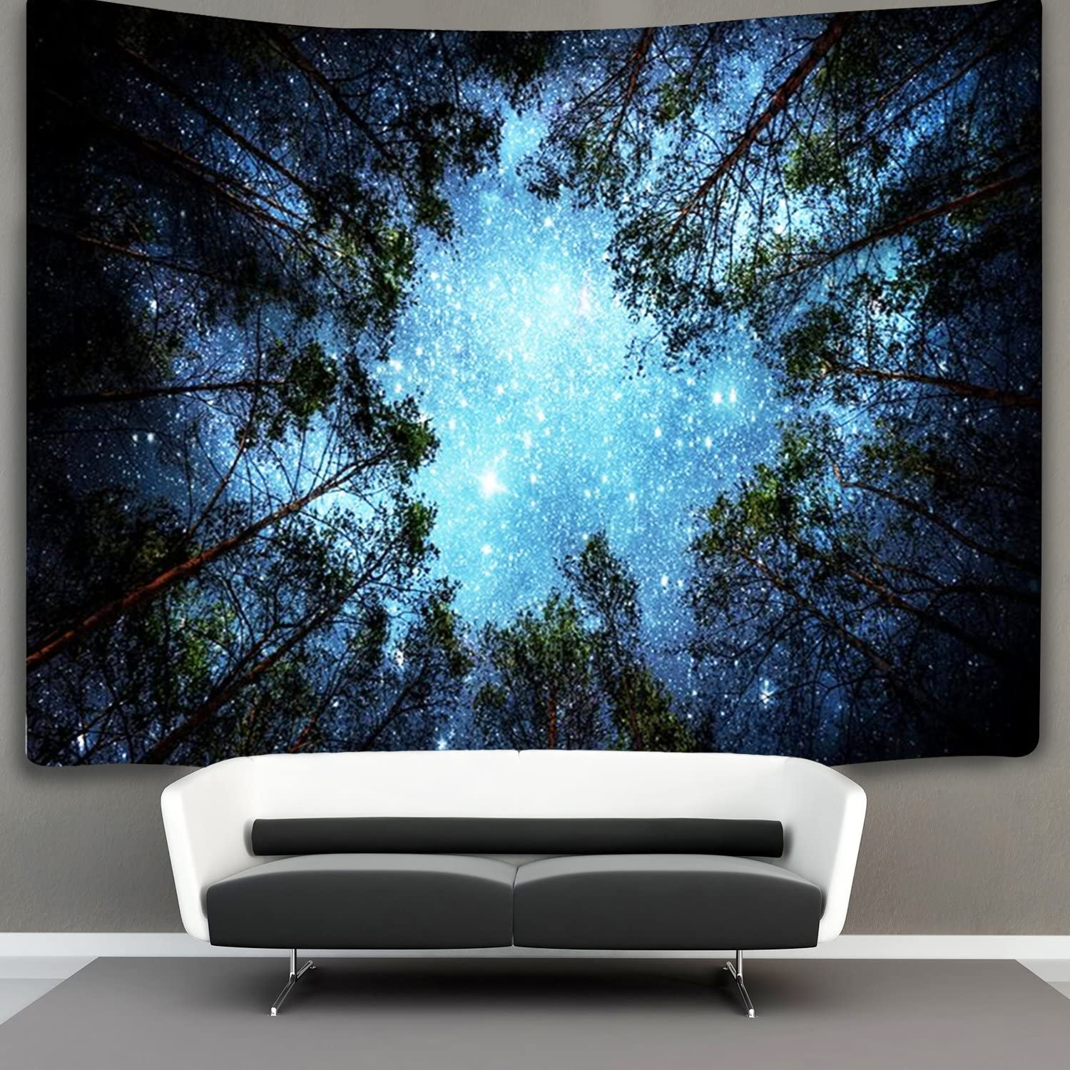 Forest Starry Tapestry Starry Sky Tapestry Moon and Stars Tapestry Galaxy Tapestry Wall Hanging Forest Tapestry Night Sky Tapestry Wall Tapestry for Dorm Living Room Bedroom (Small, forest Star)