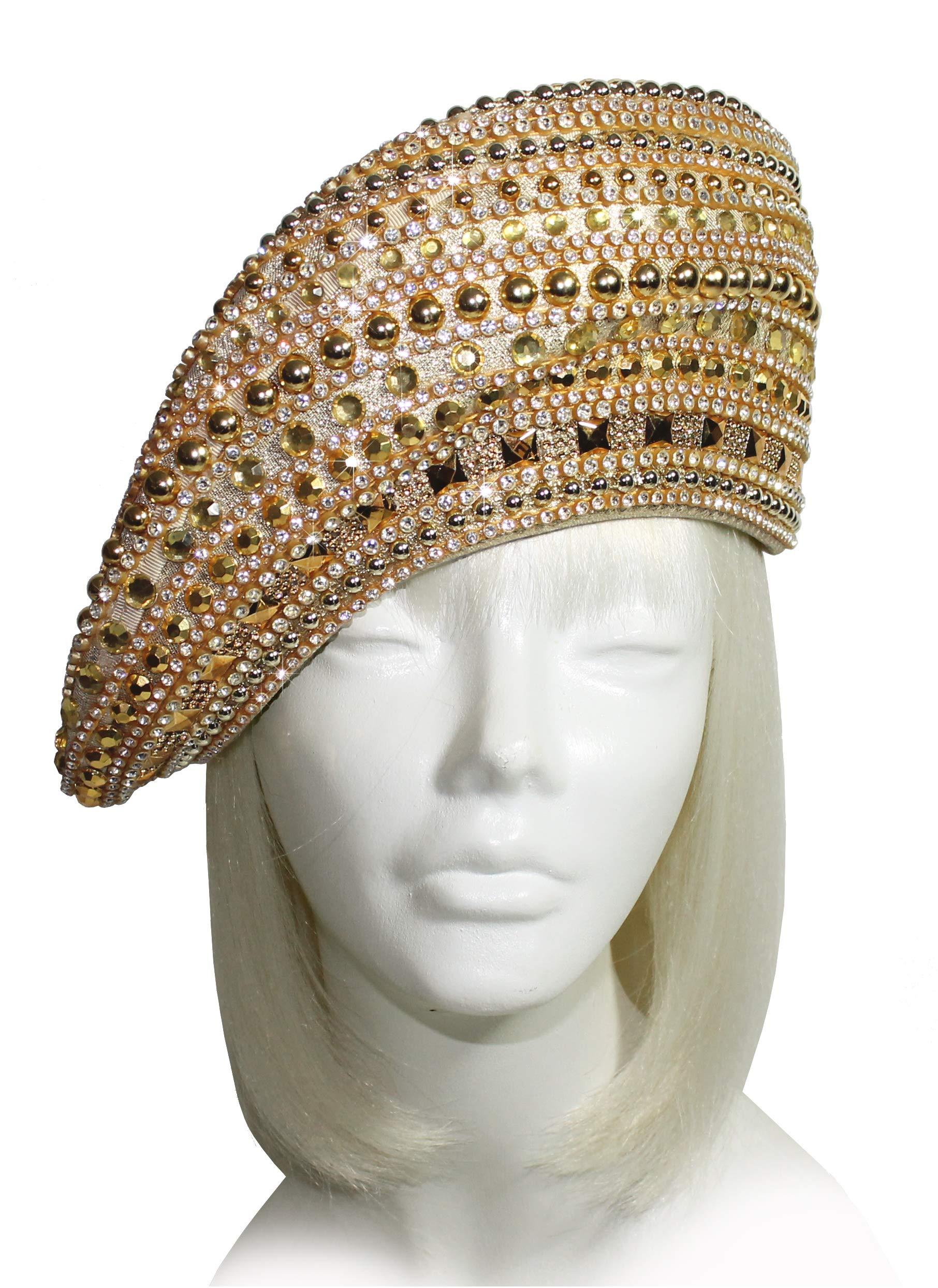 Mr. Song Millinery All-Season Rhinestone Pavéd Beret Style Hat Q342 Gold