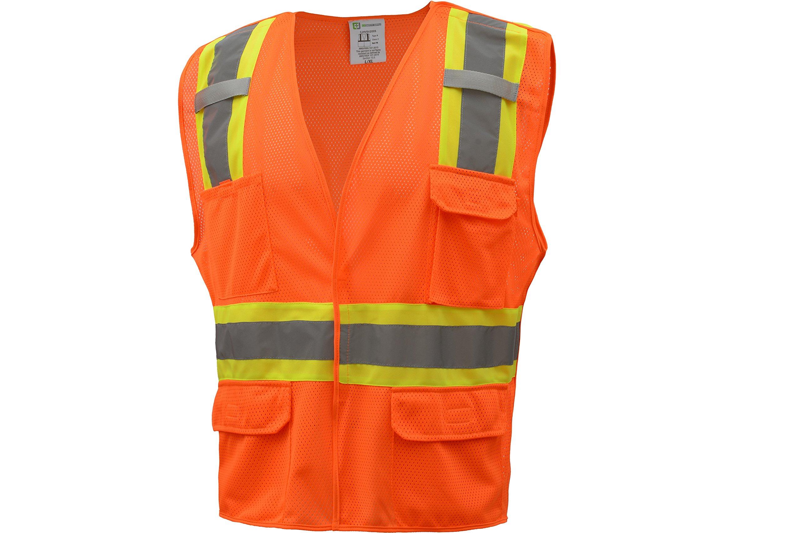 CJ Safety CJHVSV2005 ANSI Class 2 High Visibility Two Tone 5-Points Breakaway Safety Vest 100% Polyester Mesh (Extra Large, Orange)