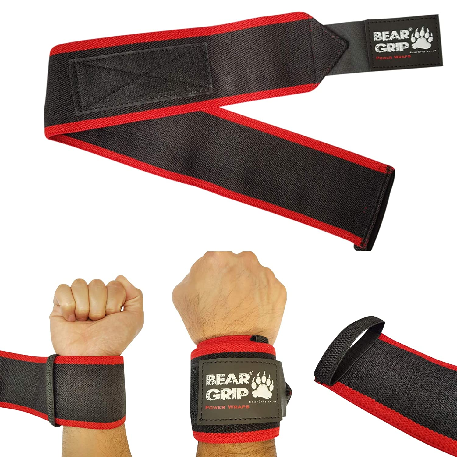 Bear Grip Premium Heavy Duty 24 Weight Lifting Wrist Wraps Red Bodybuilding Crossfit Powerlifting Strongman Black